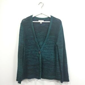 Coldwater Creek Cardigan XL Blue Green Knit 1 Butt
